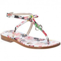 Girls Leather Floral Sandal with 'CD' Charms  | Childrensalon