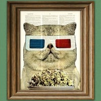 Fat Cat Movie Critic with Old School 3D Glasses and a bowl of popcorn illustration beautifully upcycled dictionary page book art print