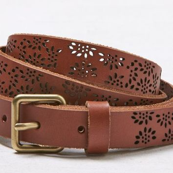 AEO Women's Floral Perforated Belt (Tan)