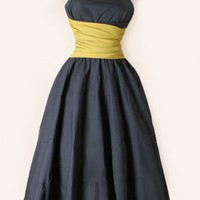 1950's Grey & Yellow Strapless Dress - M