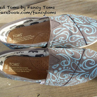 Handpainted Custom TOMS Shoes - Swirls and Spots