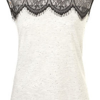 Eyelash Lace Shell Top - Jersey Tops  - Clothing