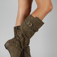 Amar-34 Buckle Slouchy Knee High Wedge Boot