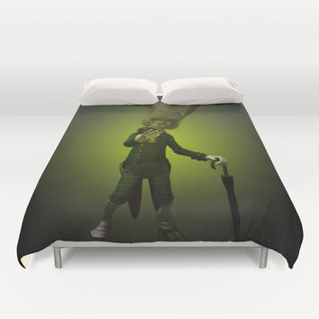 Hare o' Clock Duvet Cover by Texnotropio