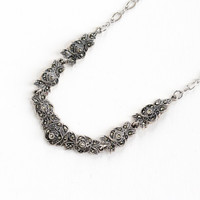 Vintage Art Deco Sterling Silver Marcasite Rose Necklace - 1940s Floral Flower Mid-Century Hallmarked Clark and Coombs Jewelry