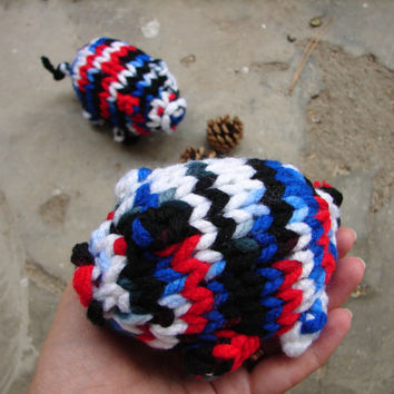 Red white and blue piggy knitted toy, pigs stuffed toy, big piggy, home decor, nursery decoration, party favor, 4th of July