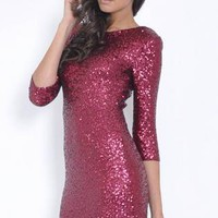 Vibrant Sequin Bodycon Dress with Mid Length Sleeves