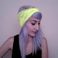 NEON YELLOW lace turban headband