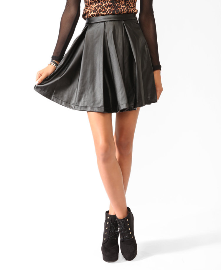 pleated faux leather skater skirt from forever 21 this