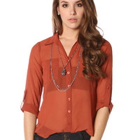 Papaya Clothing Online :: TWO POCKETS CHIFFON BLOUSE