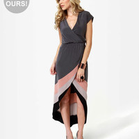 Cute Grey Dress - High-Low Dress - Wrap Dress - $49.00