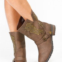 Brown Faux Leather Electric Pyramid Stud Riding Boots