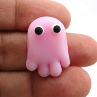 Pink Ghost Lampworked Glass Bead by MercuryGlass on Etsy