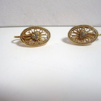 Vintage Clip On Earrings gold tone oval filigree rhinestone costume jewelry
