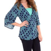 Crossover Top, Navy