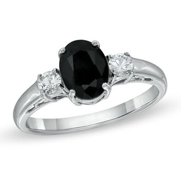 Oval Black and White Sapphire Three Stone Ring in Sterling Silver