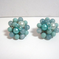 Vintage Clip On Earrings blue bead cluster costume jewelry 1950s era teal blue turquoise aqua