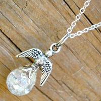 Dainty Sparrow Bird Crystal Crackle Glass Marble Necklace