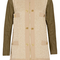 Moschino Paneled canvas and metallic-bouclé coat – 70% at THE OUTNET.COM