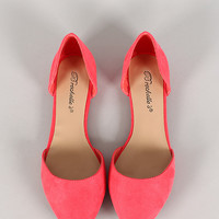 Breckelle Suede Pointy Toe Slip On Flat