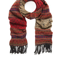 Sangria Blanket Jacquard Scarf | Red | Accessorize