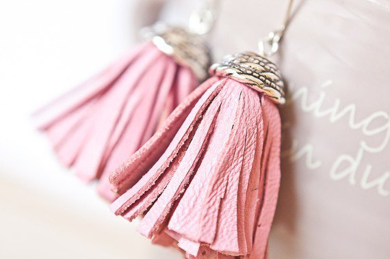 Tassel Leather Earrings Baby Pink Fringe Silver boho by daimblond