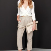 One Liner Brown and Cream Striped Pants