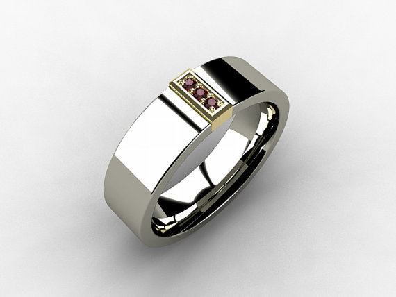 Titanium Ring Ruby Yellow Gold Mens From TorkkeliJewellery On