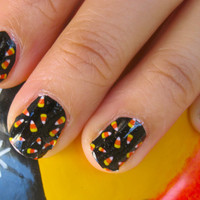 TRICK OR TREAT Candy Corn sprinkling halloween nail decals