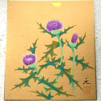 Vintage Japanese Painting Thistle Flower in Showa Period