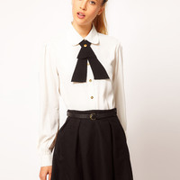 ASOS Blouse With Contrast Tie And Gold Buttons at asos.com
