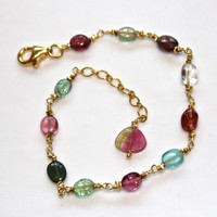 Watermelon Tourmaline Slice Rainbow Smooth Oval Gold Vermeil Extender Chain Bracelet