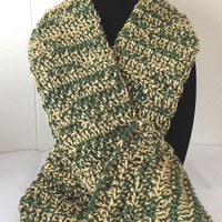 Green and Gold double thick scarf, handmade scarf