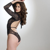 Sexy Lace Body - Long Sleeves & Cut Out Back - Lingerie