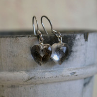 Heart dandelion earrings - transparent resin earrings with a real dandelion seed  - eco-friendly botanical eco chic e0012