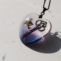 The Key to My Heart Necklace Steampunk Jewellery Resin Pendant Blue Purple Watch Parts