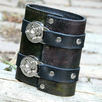 Leather Steampunk Credit Card Wristband Wallet Cuff for Women and Men - Earthy Jewel Tones