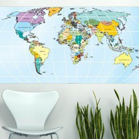Modern , Urban and Contemporary - Printed Rectangular World Map - Wall Decals , Home WallArt Decals