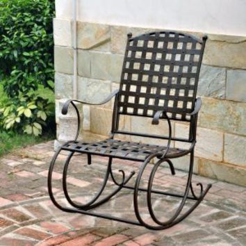 International Caravan Santa Fe Wrought Iron Patio Rocker