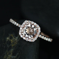Petite Version 14kt Rose Gold Thin Morganite Cushion Halo Engagement Ring (Other metals and stone options available)