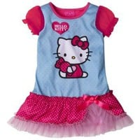 Hello Kitty Girls 2T-4T Blue/Pink Ruffle Cap Sleeve Night Gown $14.99 - $15.99