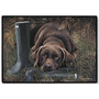 Doormat - D20 Chocolate Lab with Boots - 18&quot; x 27&quot; Indoor/Outdoor Designer Mat $26.48