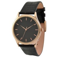 Rose Gold Watch with rose gold indexes in black face