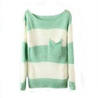 Women's Round Neck Green White Stripes Pullover Sweater