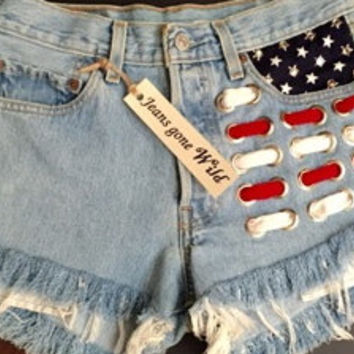 NEW High waisted Levi's , American flag, cut offs, destroyed shorts all sizes