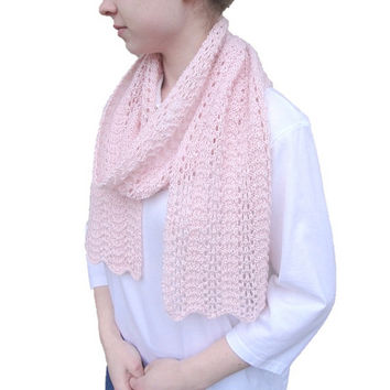 Baby Alpaca Scarf, Pale Pink, Knitted, Long Light Lace Lacy Wrap, Elegant Delicate Luxurious