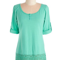 ModCloth Mid-length Short Sleeves Cheer I Go Top in Mint