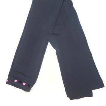 One Size Gray Thick Gray Warm Footless Black and Pink Studded Leggings