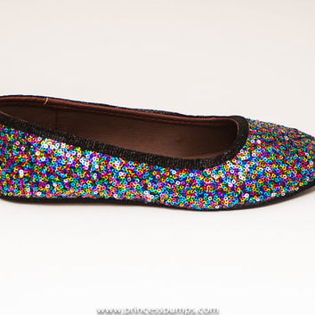 Sequin Rainbow Speckle Ballet Flats Slippers Shoes by Princess Pumps