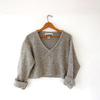 Vintage cropped sweater. Loose knit sweater. Speckled oatmeal sweater. Vneck knit jumper.